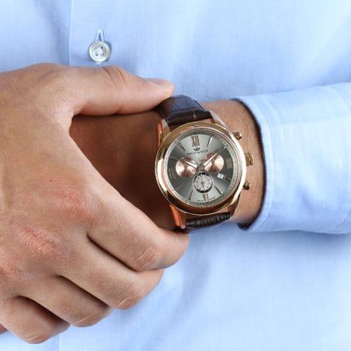 Philip Inoxydable Acier Natur En Cuir Chronographe R8271996006 Watch iPukXOZT